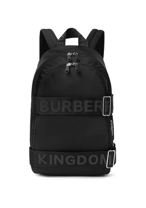 Burberry - Logo-jacquard Webbing And Leather-trimmed Shell Backpack - Black