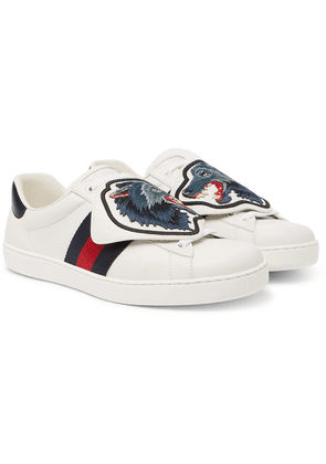Gucci - Ace Embroidered Leather Sneakers - White