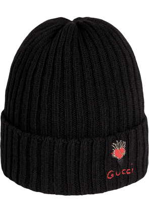 Gucci Wool hat with pierced heart - Black