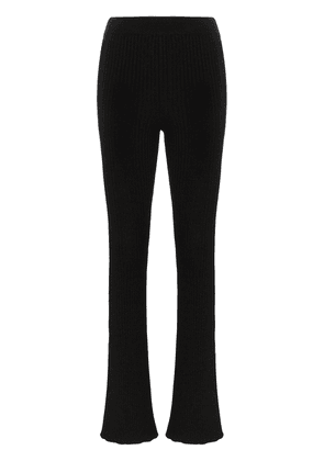 Loewe high-waisted knitted flare trousers - Black