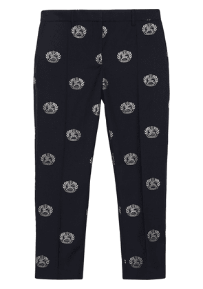 Burberry Crest Detail Wool Cropped Tailored Trousers - Blue