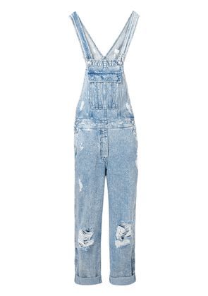 Balmain distressed denim jumpsuit - Blue