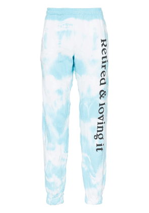 Ashley Williams retired and loving it tie dye sweat pants - Blue