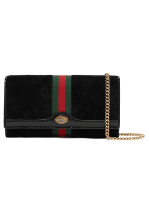 Gucci - Ophidia Micro Patent Leather-trimmed Suede Shoulder Bag - Black