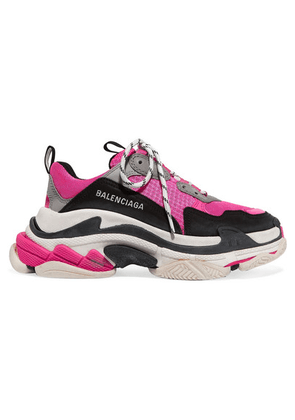 Balenciaga - Triple S Logo-embroidered Leather, Nubuck And Mesh Sneakers - Pink