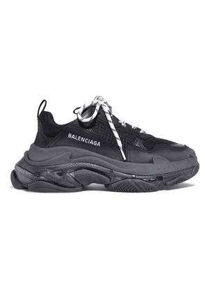 Balenciaga - Triple S Clear Sole Logo-embroidered Leather, Nubuck And Mesh Sneakers - Black