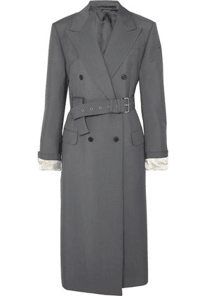 Prada - Belted Mohair And Wool-blend Coat - Gray