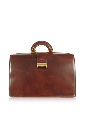 Brown Italian Leather Buckled Large Doctor Bag