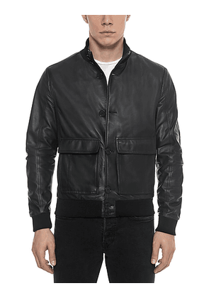 Black Leather Men's Bomber Jacket