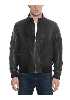 Black Leather and Nylon Men's Reversible Jacket