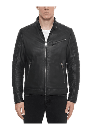 Black Padded Leather Men's Biker Jacket