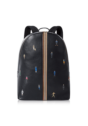 Men's Navy Blue Leather Signature Stripe and People Backpack
