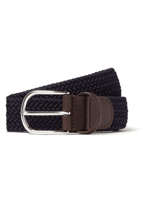 Anderson's - 3.5cm Midnight-blue Woven Waxed-cord Belt - Navy