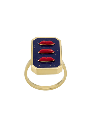 Eshvi enamelled lips ring - Blue
