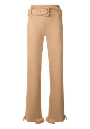 Prada belted straight-leg trousers - Brown