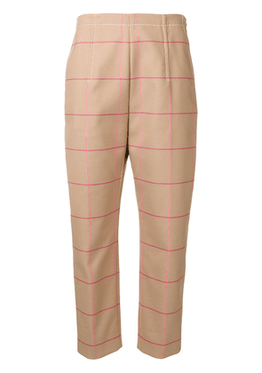 Marni checked trousers - Brown