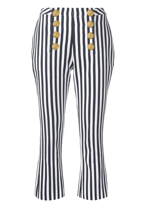 Balmain striped cropped trousers - Blue