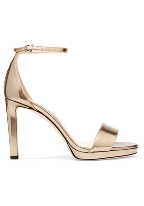 Jimmy Choo - Misty 100 Metallic Leather Platform Sandals - Gold