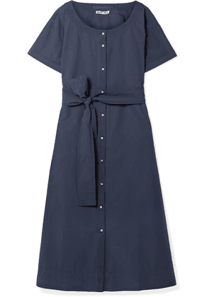 Alex Mill - Belted Cotton-poplin Midi Dress - Navy