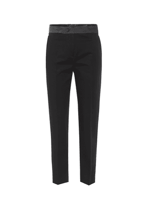 Satin waist stretch-cotton trousers
