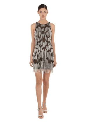 Silk Tulle Mini Dress W/ Bead Fringes