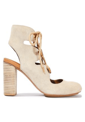 5e1f07efcb61 See By Chloé Woman Edna Lace-up Suede Ankle Boots Cream Size 35