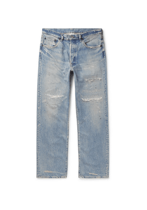 Fabric-Brand & Co - Paint-splattered Distressed Denim Jeans - Blue