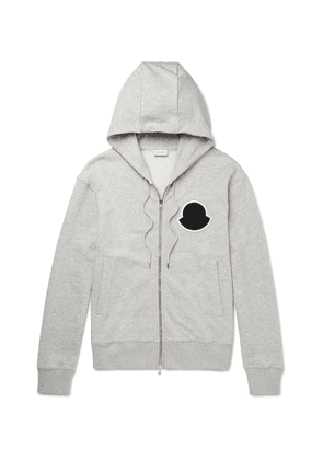 Moncler - Mélange Loopback Cotton-jersey Zip-up Hoodie - Gray