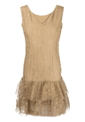 Balenciaga Vintage lace-embroidered ruffle dress - Brown