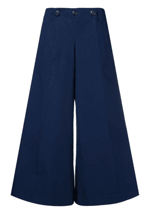 Chanel Vintage wide cropped trousers - Blue