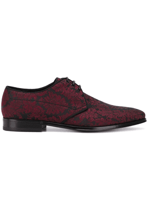 Dolce & Gabbana floral brocade lace-up shoes - Red