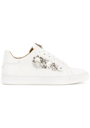 Black Dioniso floral appliqué sneakers - White