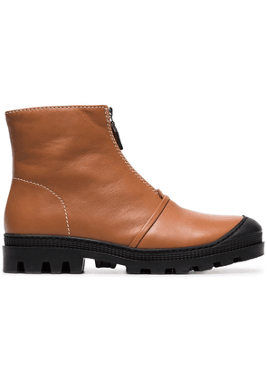 Loewe tan and black Zip front leather ankle boots - Brown