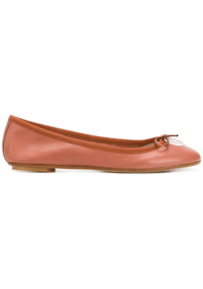 Anna Baiguera bow front ballerina pumps - Brown