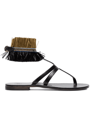Álvaro black Ariana Raffia flat leather sandals