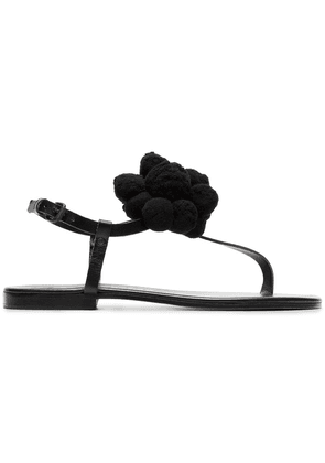 Álvaro black Arjan pom pom leather sandals
