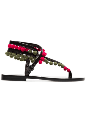 Álvaro green Androna pom pom leather sandals - Black