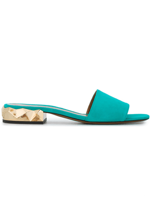 Darmaki Turquoise Suede Dana Slides - Blue