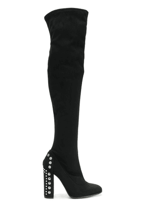 Fabi embellished heel thigh boots - Black