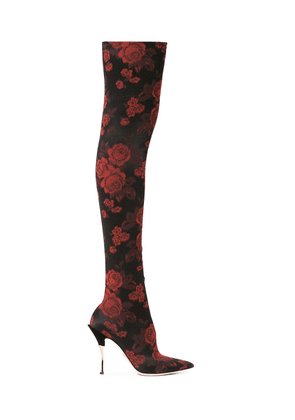 Dolce & Gabbana Rose-jacquard over-the-knee boots - Black