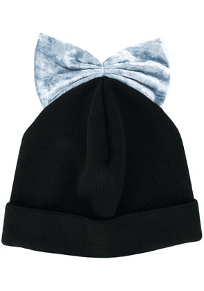 Federica Moretti bow embroidered beanie hat - Black