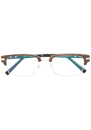 Gold And Wood square glasses - Brown