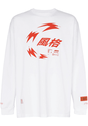 Heron Preston Chinese heron print relaxed fit long-sleeved T-shirt -