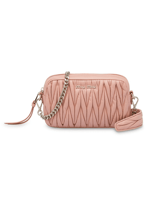 48945c7a4372 Miu Miu Matelassé leather shoulder bag - Pink