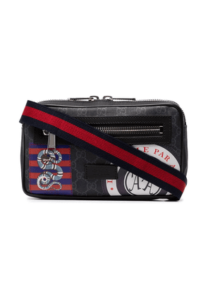 Gucci black Night Courrier badge embellished crossbody bag
