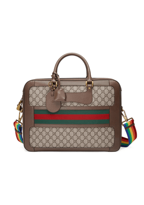 Gucci GG Supreme briefcase with Web - Brown