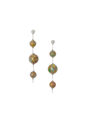 Burberry Marbled Resin Palladium-plated Drop Earrings - Green