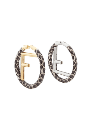 Fendi F logo hoops - Brown