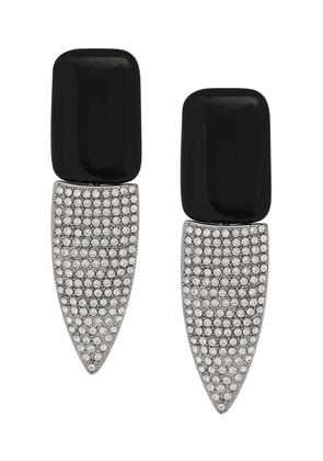 Saint Laurent Smoking clip-on crystal earrings - Black
