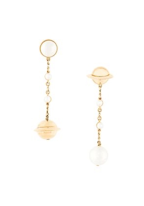 Eshvi Swarovski pearl drop earrings - Gold